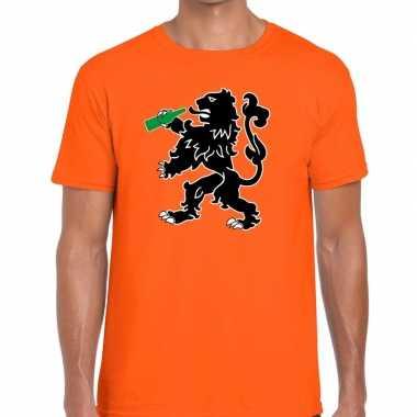 Goedkope grappige bier drinkende leeuw t shirt voor koningsdag of het
