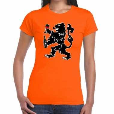 Goedkope grappige wijn drinkende leeuw t shirt voor koningsdag of het