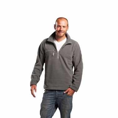 Goedkope grijze fleece trui met ritskraag voor volwassenen