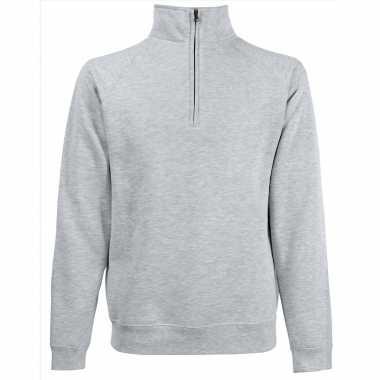 Goedkope grijze fleecetrui/fleecesweater voor heren