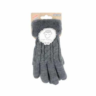 Goedkope grijze handschoenen gebreid teddy voor jongens/meisjes/kinderen