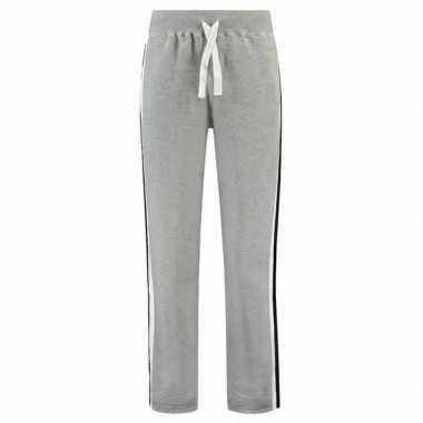 Goedkope grijze joggingbroek/huisbroek met streep voor dames