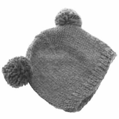 Goedkope grijze wintermuts met bolletjes voor volwassenen
