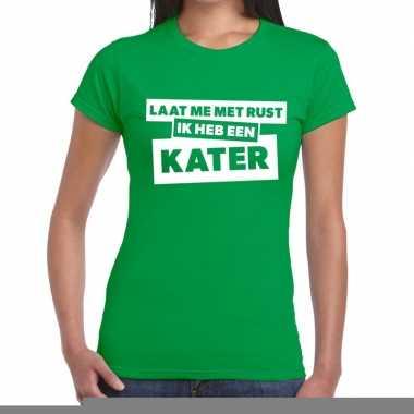 Goedkope groen feest t shirt laat me met rust ik heb een kater groen