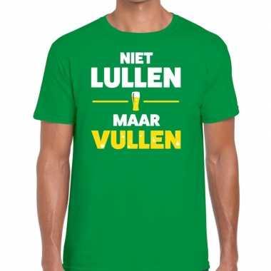 Goedkope groen niet lullen maar vullen fun t shirt voor heren