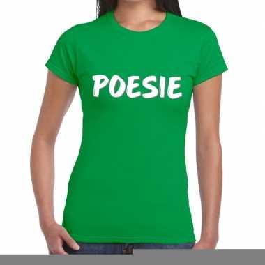 Goedkope groen poesie shirt voor dames