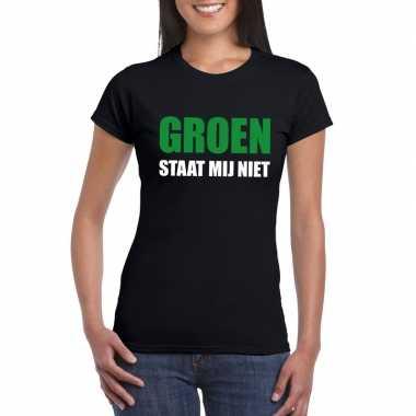 Goedkope groen staat mij niet t shirt zwart dames