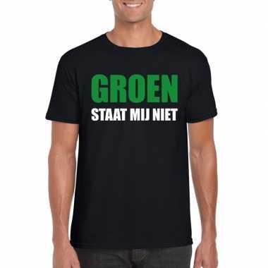 Goedkope groen staat mij niet t shirt zwart heren
