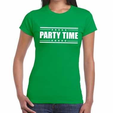 Goedkope groen t shirt dames met tekst party chick