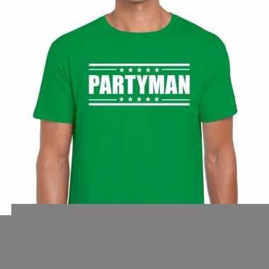 Goedkope groen t shirt heren met tekst partyman