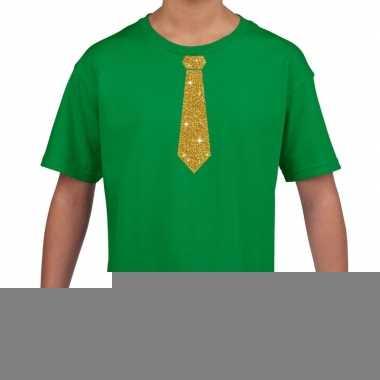 Goedkope groen t shirt met gouden stropdas voor kinderen