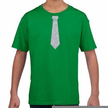 Goedkope groen t shirt met zilveren stropdas voor kinderen