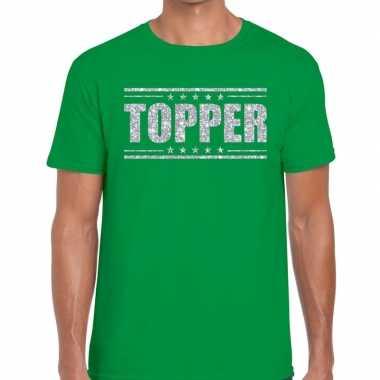 Goedkope groen topper shirt in zilveren glitter letters heren