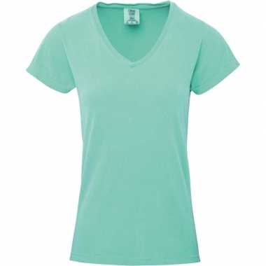 Goedkope groene dames t shirts met v hals