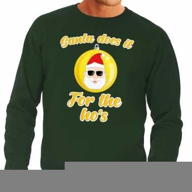 Goedkope groene foute kersttrui kerstman does it for the ho's voor he