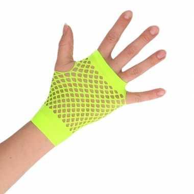 Goedkope groene verkleed handschoenen met gaatjes voor dames/heren