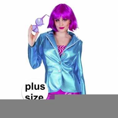 Goedkope grote maat blauwe disco eighties jasje voor dames