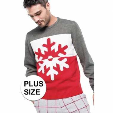 Goedkope grote maat grijs/rode foute/lelijke gebreide kersttrui met s