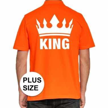 Goedkope grote maat koningsdag polo t shirt oranje king voor heren