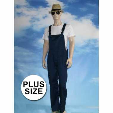 Goedkope grote maat navy tuinbroek voor dames en heren