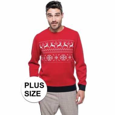 Goedkope grote maat rood/witte foute/lelijke gebreide kersttrui met n