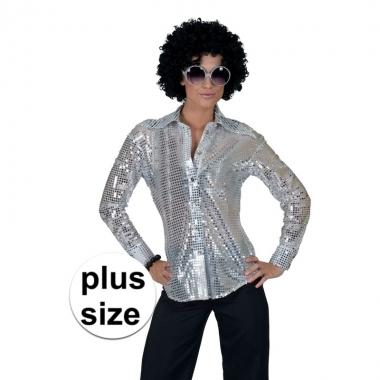 Goedkope grote maat zilveren disco seventies overhemd voor dames