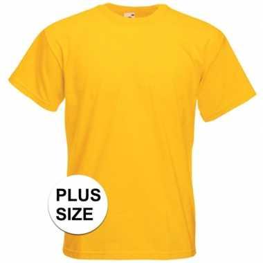 Goedkope grote maten basis heren t shirt geel met ronde hals