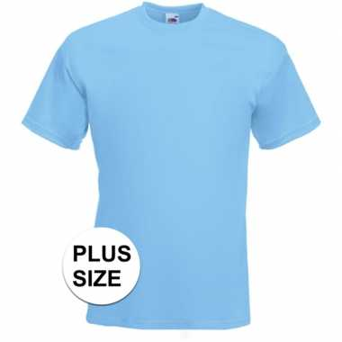Goedkope grote maten basis heren t shirt licht blauw met ronde hals