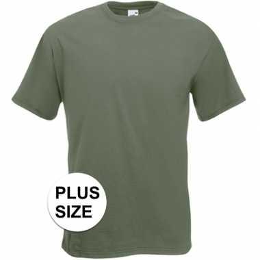 Goedkope grote maten basis heren t shirt olijf groen met ronde hals