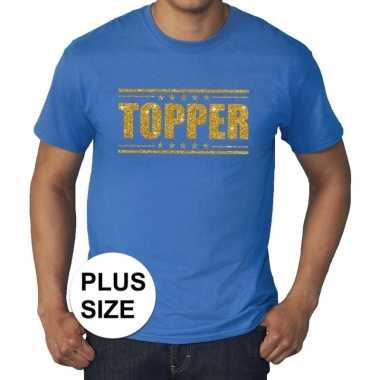 Goedkope grote maten blauw topper t shirt gouden glitter letters here