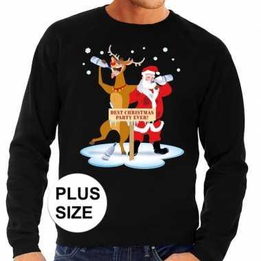Goedkope grote maten foute kersttrui zwart met een dronken kerstman e