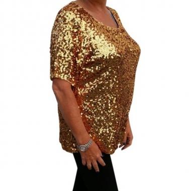 Goedkope grote maten glitter pailletten shirt goud dames xl (44 48)