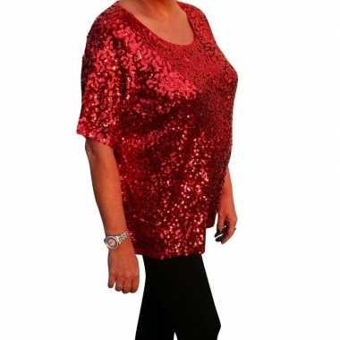 Goedkope grote maten glitter pailletten shirt rood dames xl (44 48)