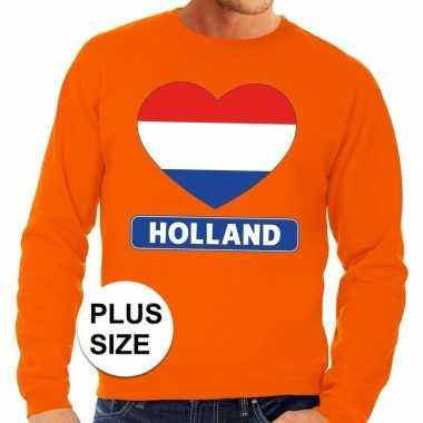 Goedkope grote maten holland hart supporter trui oranje heren