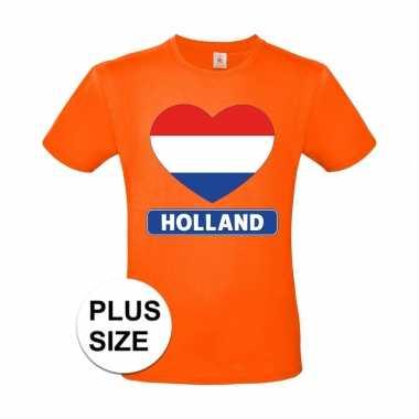 Goedkope grote maten holland hart vlag shirt oranje heren