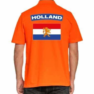 Goedkope grote maten holland supporter polo t shirt oranje kingsday v
