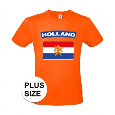 Goedkope grote maten holland vlag shirt oranje heren