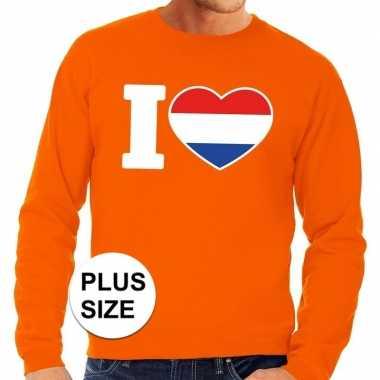 Goedkope grote maten i love holland supporter trui oranje heren