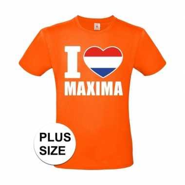 Goedkope grote maten i love maxima shirt oranje heren