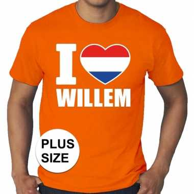 Goedkope grote maten i love willem shirt oranje heren