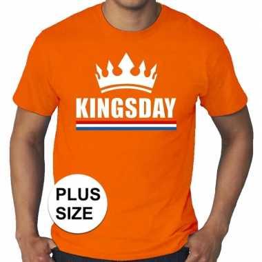 Goedkope grote maten kingsday / koningsdag met kroon shirt oranje her