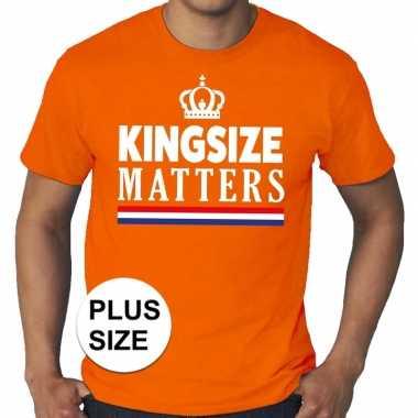 Goedkope grote maten kingsize matters koningsdag met kroon shirt oran