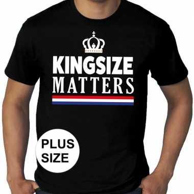 Goedkope grote maten kingsize matters koningsdag met kroon shirt zwar