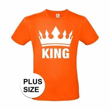Goedkope grote maten koningsdag king shirt oranje heren