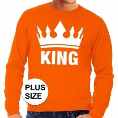 Goedkope grote maten koningsdag kroon trui oranje heren