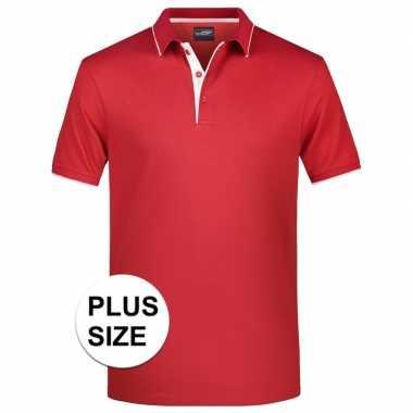 Goedkope grote maten rood/wit premium poloshirt golf pro voor heren