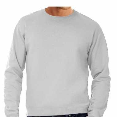Goedkope grote maten sweater / sweatshirt trui grijs met ronde hals voor mannen