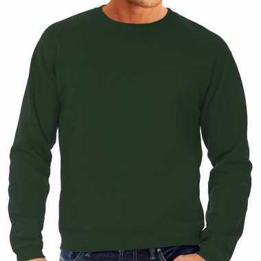 Goedkope grote maten sweater / sweatshirt trui groen met ronde hals voor mannen
