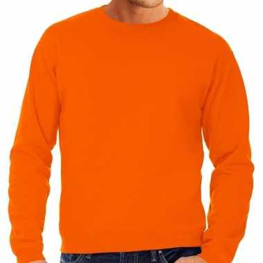 Goedkope grote maten sweater / sweatshirt trui oranje met ronde hals voor mannen koningsdag / oranje supporter