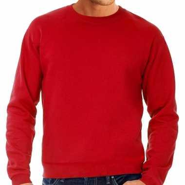 Goedkope grote maten sweater / sweatshirt trui rood met ronde hals voor mannen
